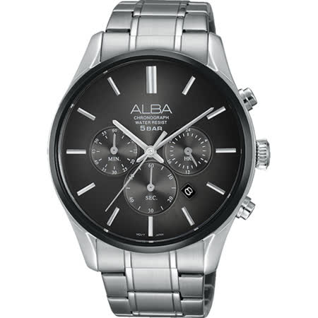 ALBA 東京都會時尚計時腕錶-鐵灰/42mm VD53-X238D(AT3963X1)