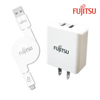 FUJITSU富士通 3.1A電源供應器+MICRO USB捲線100CM(白)