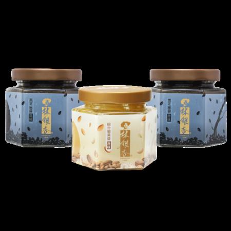 【林銀杏】堅果醬系列組-綜合堅果醬(原味110g)X1罐+黑芝麻醬(原味110g)X2罐