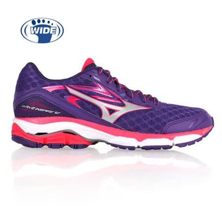(女) MIZUNO WAVE INSPIRE 12 慢跑鞋- 路跑 寬楦 紫亮桃紅