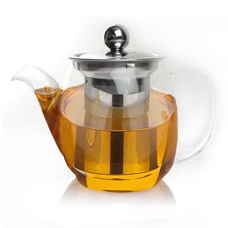 【偉升】耐熱玻璃不鏽鋼茶漏泡茶壺/花茶壺500ML(100Z)