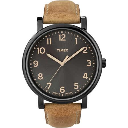 TIMEX 復刻系列經典工藝時尚腕錶-黑x咖啡