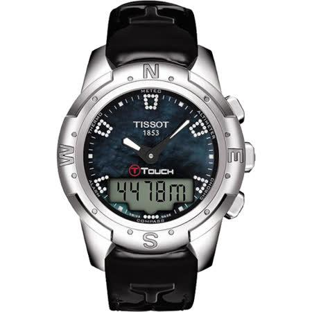 TISSOT T-TOUCH II 鈦真鑽多功能觸控錶-黑貝/42.7mm T0472204612600
