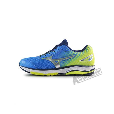 (男)MIZUNO美津濃 WAVE RIDER 19 SW 慢跑鞋 藍/螢光黃-J1GC160404