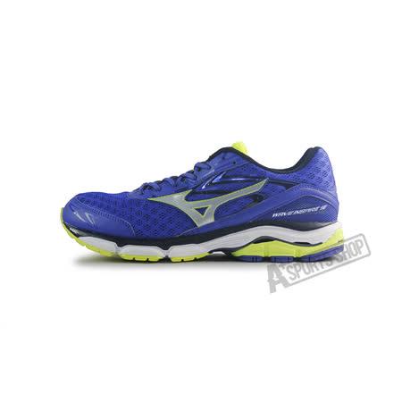 (男)MIZUNO美津濃 WAVE INSPIRE 12 2E 慢跑鞋 藍/螢光黃-J1GC164503