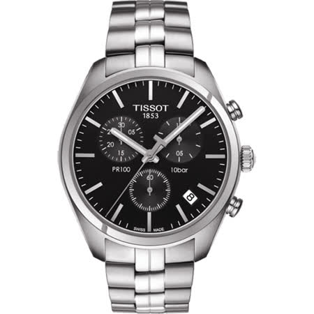 TISSOT PR100 經典美學計時腕錶-黑/41mm T1014171105100