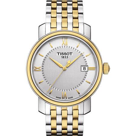 TISSOT Bridgeport 寶環系列經典石英腕錶-銀x雙色版/40mm T0974102203800