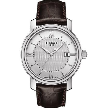 TISSOT Bridgeport 寶環系列經典石英腕錶-銀x咖啡/40mm T0974101603800