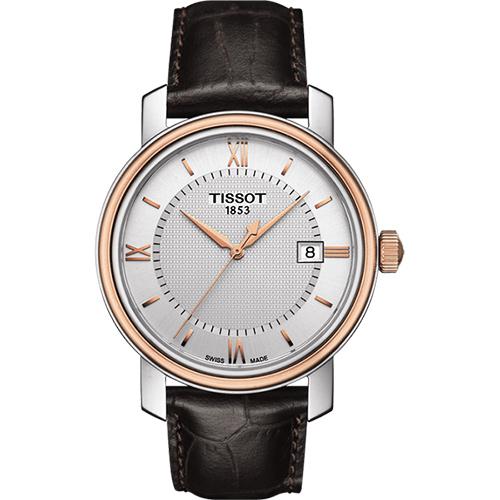 TISSOT Bridgeport 寶環系列經典石英腕錶-銀x玫瑰金框/40mm T0974102603800