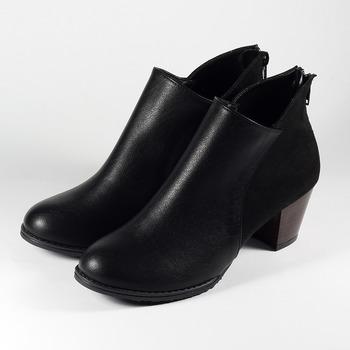 (女) YOUNG COLOR 雙拼素面粗跟踝靴 黑 鞋全家福