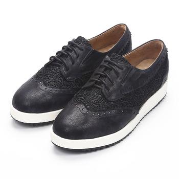 (女) SUNNY YSA 蕾絲綁帶厚底休閒鞋 黑 鞋全家福