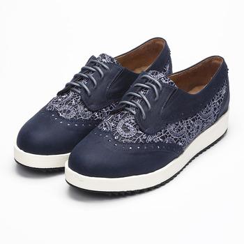 (女) SUNNY YSA 蕾絲綁帶厚底休閒鞋 藍 鞋全家福