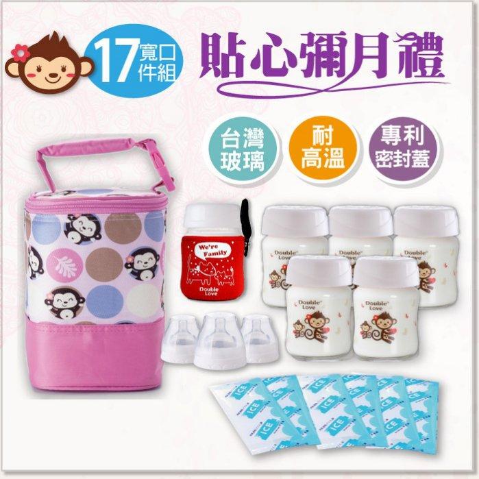 台灣Double Love 抱抱猴 寬口徑 120ML 母乳儲奶瓶保冷17件套組(可銜接AVENT擠乳器)【A10041】