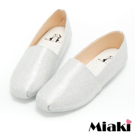 【Miaki】MIT 懶人鞋時尚韓版休閒圓頭包鞋 (銀色)