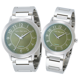 cK 鐘點情人時尚對錶(綠)