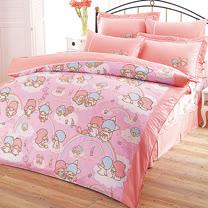 【享夢城堡】Little TwinStars 雙星樂園系列-精梳棉雙人床包涼被組