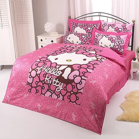 【享夢城堡】HELLO KITTY 我的RIBBON時尚系列-精梳棉雙人床罩組(粉.紅)
