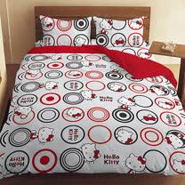【享夢城堡】HELLO KITTY 我愛普普針織系列-精梳棉雙人床包涼被組(紅.黑)