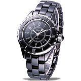 Hanna 法式情人全陶瓷石英腕錶(黑-小尺寸)