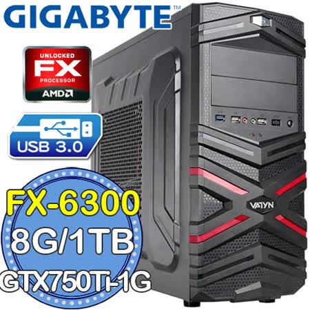 技嘉760平台【無間炎魔】AMD FX六核 GTX750Ti-1G獨顯 1TB燒錄電腦