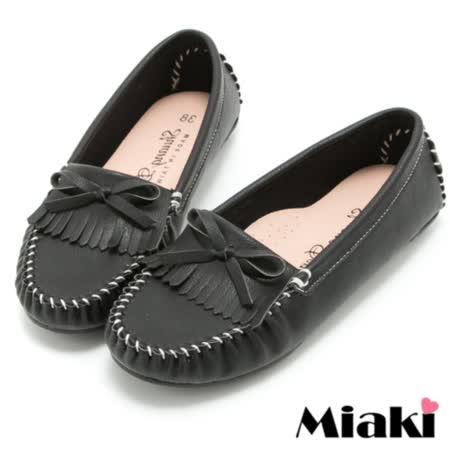 【Miaki】MIT 樂福鞋經典熱賣平底懶人包鞋 (黑色)
