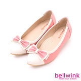 bellwink【B9125PK】拼接小點朵節尖頭平底鞋-粉色