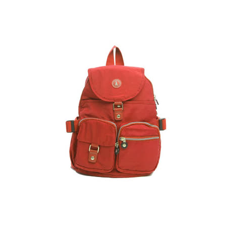 冰山袋鼠 - 輕盈系休閒運動風雙口袋防水後背包-磚紅