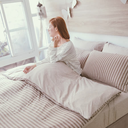 OLIVIA 《沐春》天竺棉針織 雙人床包被套四件組