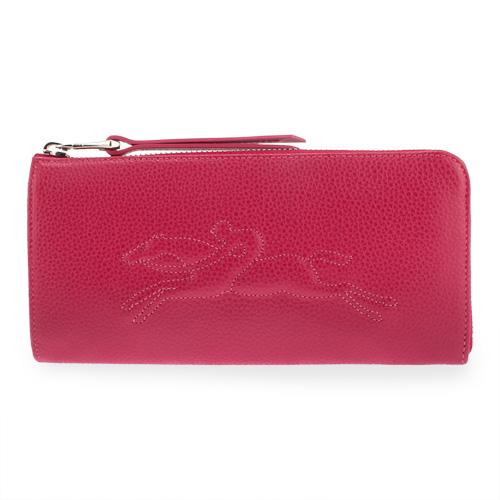 Longchamp Le Foulonné系列經典立體浮雕拉鍊長夾-桃紅色