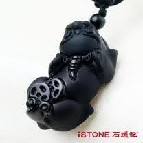 石頭記黑曜石貔貅項鍊-極富納財