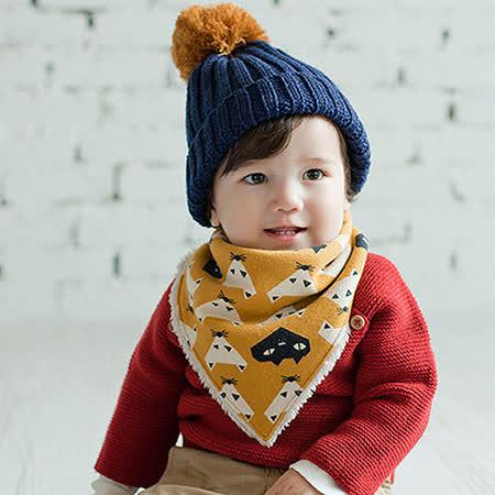 Q版寶寶可愛秋冬保暖三角加絨圍巾 口水巾(三角款-黃色)