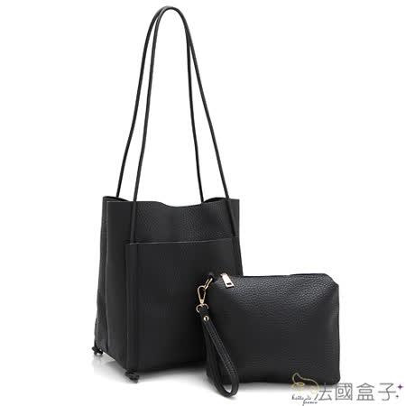 【法國盒子】韓系簡約大容量子母二用包(黑色)1336