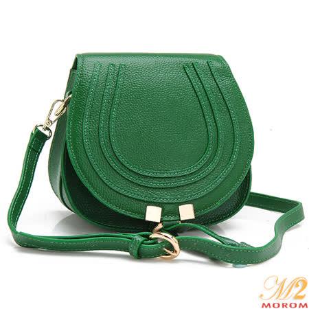 【MOROM】真皮法式浪漫俏麗甜心二用包(綠色)7026