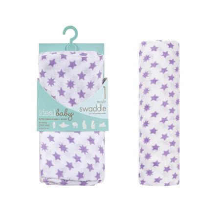 【美國idealbaby】輕柔新生兒包巾(1入)-紫星星 IB131