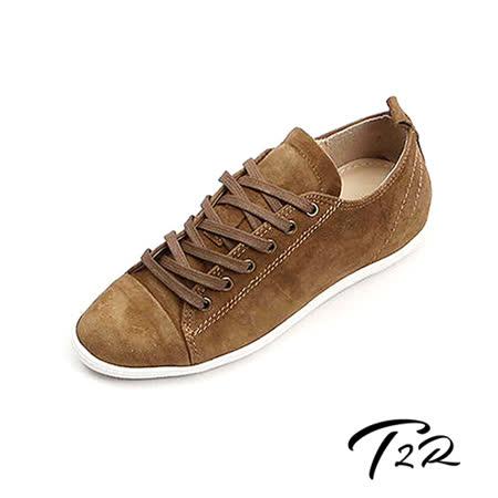 【韓國T2R】經典薄底真皮內增高休閒鞋 ↑4.5cm 咖(5500-0719)