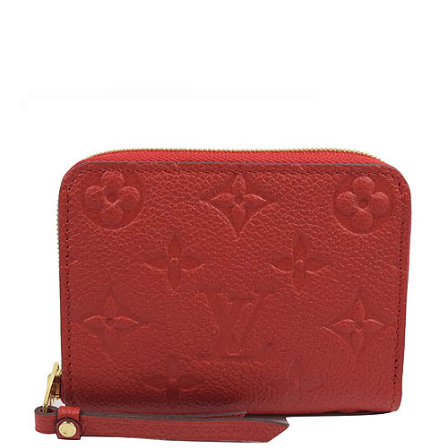 Louis Vuitton LV M60740 花紋全皮革壓紋信用卡零錢包.紅_