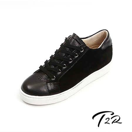 【韓國T2R】時尚拼接真皮內增高休閒鞋 ↑5cm 黑(5500-0721)