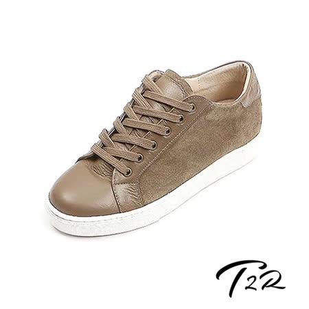 【韓國T2R】時尚拼接真皮內增高休閒鞋 ↑5cm 咖(5500-0722)