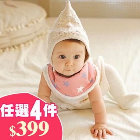 Q版寶寶兒童秋冬加絨口水巾/三角巾 任選4件