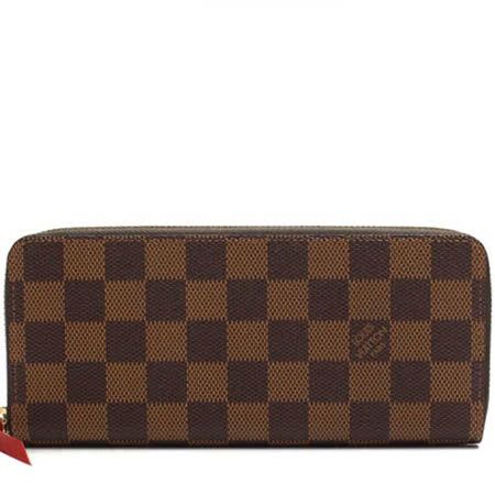 【部落客推薦】gohappy快樂購Louis Vuitton LV N60534 Clemence 棋盤格紋拉鍊長夾.橘紅_預購哪裡買遠 百 股價