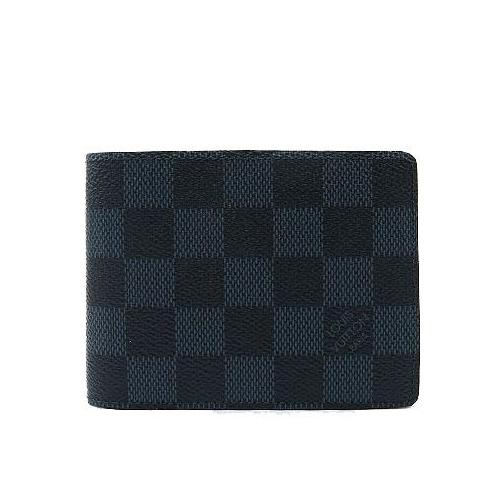 Louis Vuitton LV N62239 Slender 黑棋盤格紋雙折短夾_