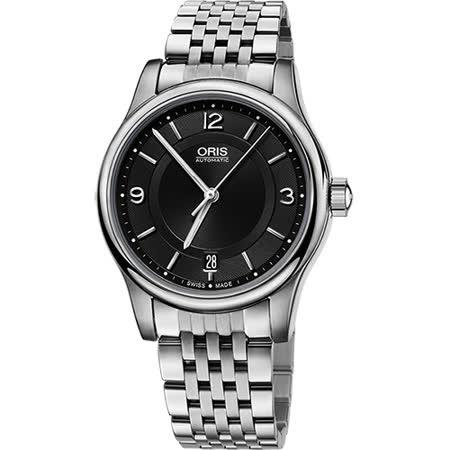 Oris Classic Date 經典都會時尚機械腕錶-黑/37mm 0173375784034-0781861