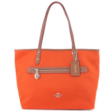 COACH 素色織布前拉鍊托特包(橘)