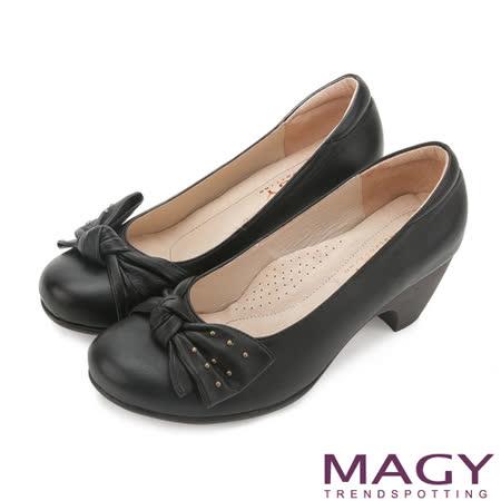 MAGY OL通勤專屬 單邊扭結蝴蝶結牛皮高跟鞋-黑色