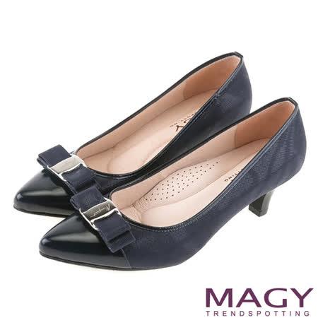 MAGY OL通勤專屬 雙皮質拼接尖頭蝴蝶結高跟鞋-藍色