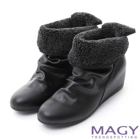 MAGY 暖冬時尚 2WAY抓皺內增高短靴-黑色