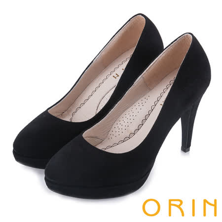 ORIN 簡約舒適柔軟 經典素面羊絨高跟鞋-黑色