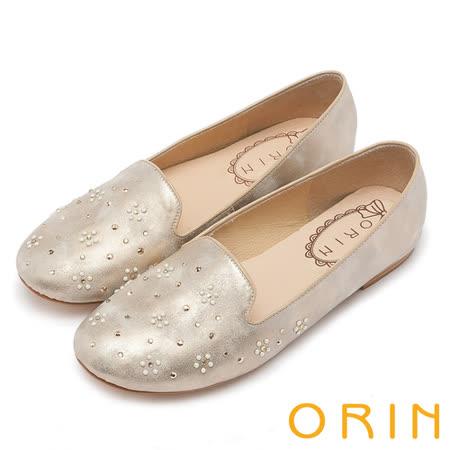 ORIN 輕甜時尚 特殊材質珍珠花朵樂福鞋-銀色