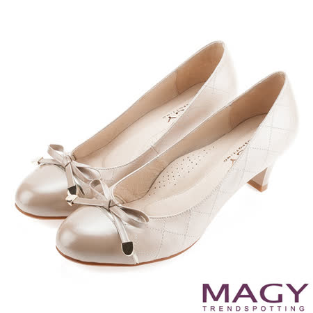 MAGY 雙皮質拼接菱格紋縫線高跟鞋-粉紅