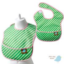 美國 Jaq Jaq Bird 寶寶餵兜兜 (綠色斜紋)